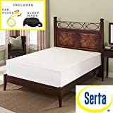 Serta Deluxe 2-inch High Density 4 Pound Memory Foam Mattress Topper Sleep Mask & Comfortable Pair of Corded Earplugs Included (Queen)
