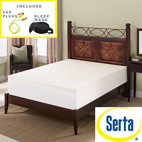 Serta Deluxe 2-inch High Density 4 Pound Memory Foam Mattress Topper Sleep Mask & Comfortable Pair of Corded Earplugs Included (Queen) by Serta