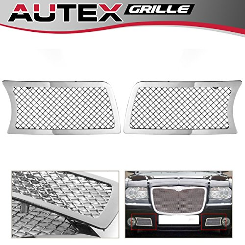 (AUTEX Stainless Steel Lower Bumper Mesh Grille Insert Compatible With Chrysler 300C 2005 2006 2007 2008 2009 2010 Grill R75309T)