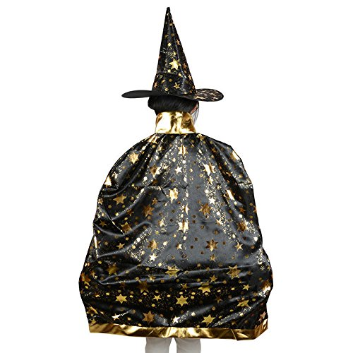 Teddy Spirit Halloween Costumes Witch Wizard Cloak with Hat for Kids Boys Girls (Black)