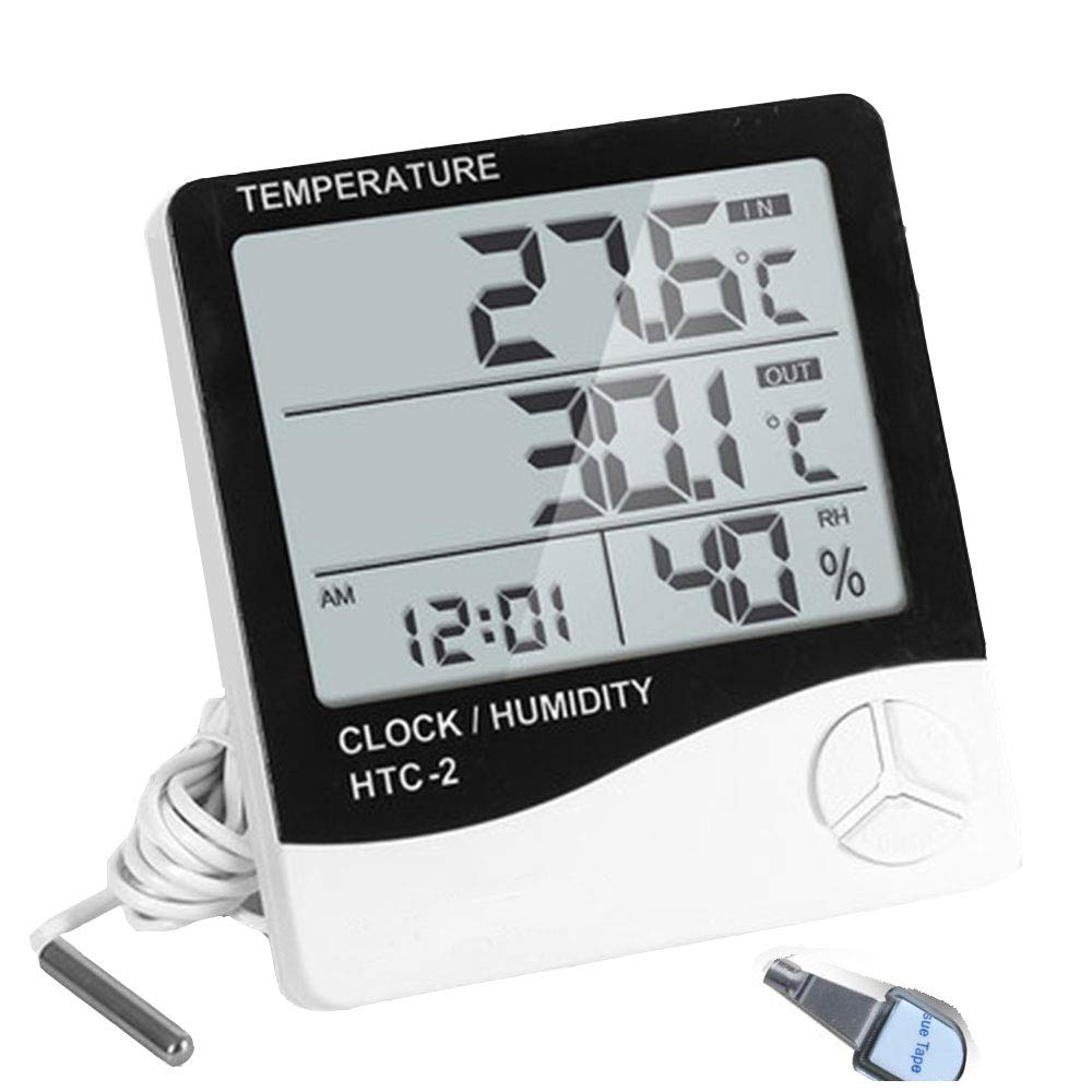 Digital Hygrometer Indoor Outdoor Temperature and Humidity Gauge,Humidity Upgraded for Incubator Safe,Digital Clock with Dual Temperature and Humidity Minitor for Home Bedroom Warehouse and Kitchen