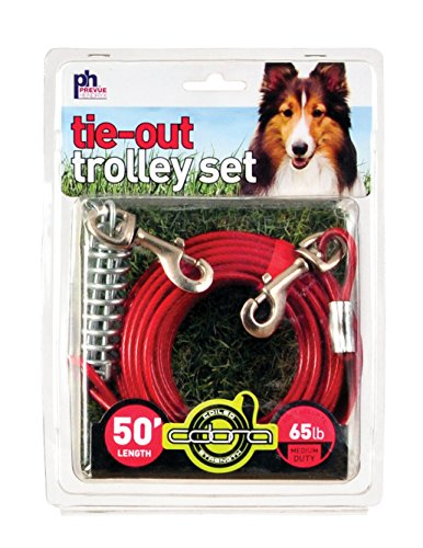 Heavy Duty Dog Trolley - Prevue Pet Products 2124 Medium-Duty 50' Tie-Out Cable Trolley Set