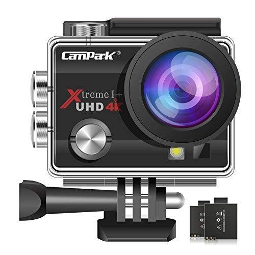 Campark ACT74 Action Camera 16MP 4K WiFi Underwater Photography Cameras 170 Degree Ultra Wide Angle Lens with 2 Pcs Rechargeable Batteries and Mounting Accessories Kits (Camera Head)