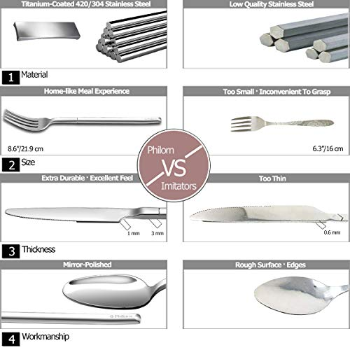 Knife Set Titanium Steel High Set for Set Travel end Utensils Lu Portable Set Piece Cutlery Fork Silver Polished coated Silverware Stainless Spoon Outdoor Set 3 Cutlery Philorn Camping Mirror Flatware U0dIww