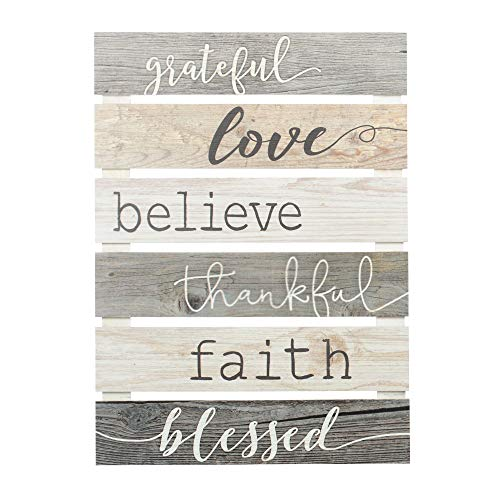- P. Graham Dunn Grateful Love Believe Thankful Faith Blessed Grey 17 x 24 Inch Solid Pine Wood Skid Wall Plaque Sign