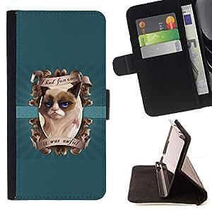 LG Magna / G4C / H525N H522Y H520N H502F H500F (G4 MINI,NOT FOR LG G4)Case , Me divertí vez Funny Cat- la tarjeta de Crédito Slots PU Funda de cuero Monedero caso cubierta de piel