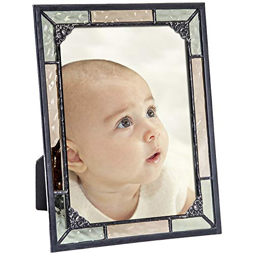 - Vintage Picture Frame Green Yellow Stained Glass Displays Vertically or Horizontally Table Top 5x7 Photo Nursery Decor Baby Gift J Devlin Pic 404-57H