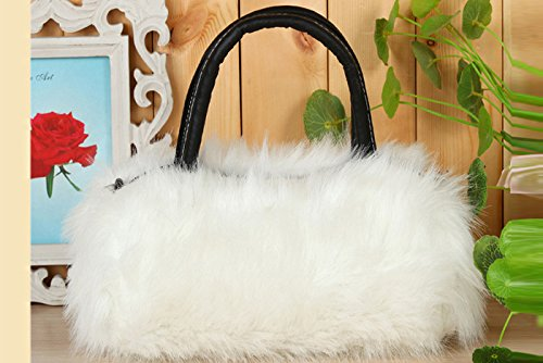 Leather Fashion Bag amp; PU Faux Hrph Shoulder Handbag Fur Lady Girls Black EqwIBAa