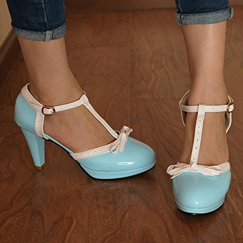 Strap Heel Bow Janes High Platform Mary Tie Vintage Shoes Sky 2 Dress T Cute Pumps Blue Women's DoraTasia wFS0XF