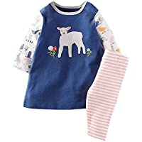 Fiream Girls Cotton Clothing Sets Summer Shortsleeve Love t-Shirts Shorts 2 Pieces Sets