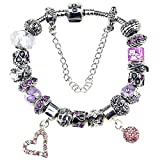 Glass Beads Birthstone Charm Bracelet Pandora Compatible Pink Heart Ball February Amethyst