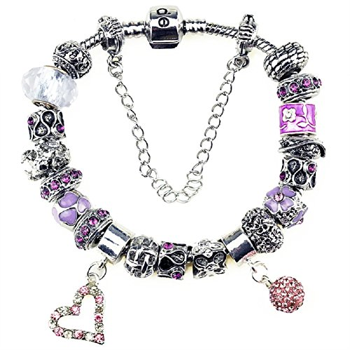 Duchy Charm Bracelet and Charm for Women Silver Plated Large Heart Ball Pink DIY Jewelry 8.5 inch/22 cm