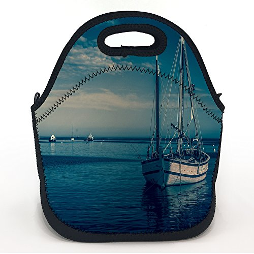 oFloral Neoprene Lunch Tote Boat Harbor Sea Printed Insulated Waterproof Lunch Box Design for Kids and Girls Women Large Pack Size 11.5