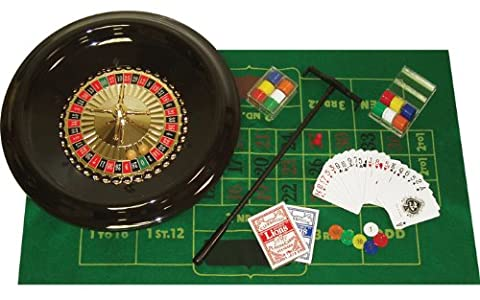 Trademark Poker 16-Inch Deluxe Roulette Set with Accessories - Black Poker Game Table