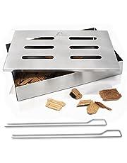 Amazy Pudełko do wędzenia ze stali nierdzewnej z 2 szpikulcami do grilla – nadaje się do mycia w zmywarce do naczyń, nadaje rybie lub stekom tradycyjny aromat dymu amerykańskiego