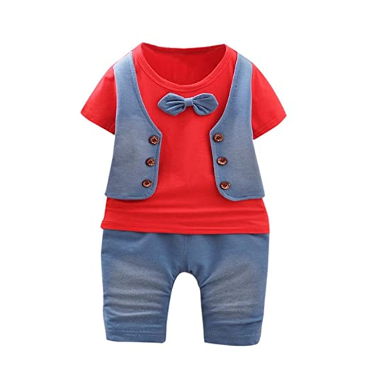 3d2ee10b1a8 Euone® Summer Gentleman Clothes Set Baby Boys Short Sleeve Vest T-Shirt  Pants (