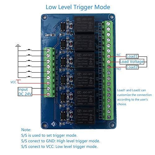 Optokoppler Isolator Dc 24v 6 Kanal Relaismodul 6bit High Low Pegel Trigger Sps Signalwandler Mit Din Schiene Gewerbe Industrie Wissenschaft