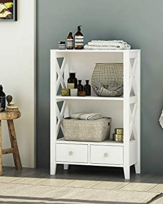 Spirich Home Modern X Frame Freestanding Floor 3 Shelf Bathroom Storage Tower With Two Drawers Free Standing Bathroom Storage Cabinets Bathroom Floor Cabinet With Shelves White Buy Online At Best Price In Uae