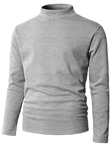 Fleece Mock Neck Pullover - H2H Mens Basic Mock Neck Long Sleeve Fleece Lining Pullover Gray US L/Asia XL (KMOSWL0230)