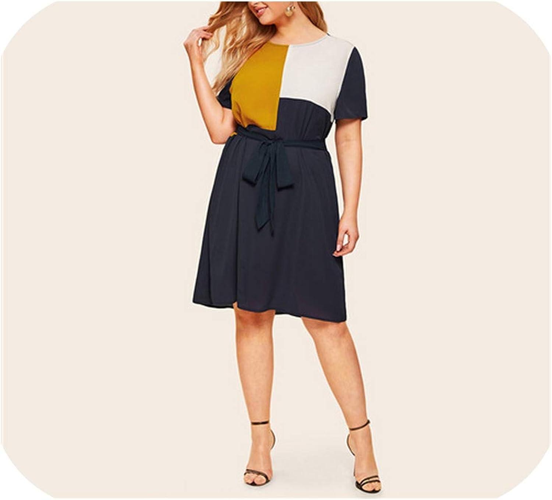 Waist Belted Color Block Dress Women Summer Tunic Short Sleeve