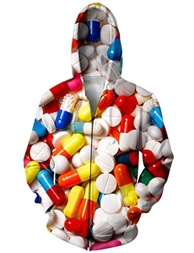 RAISEVERN Colorful Pills Print Zip Up Pockets Pullover Hoodie Sweatshirt Couple