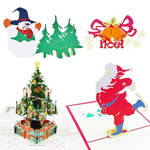 (3D Pop Up Christmas Cards Greeting Handmade Holiday Xmas Cards & Envelopes for Xmas/New Year 4 Pack)
