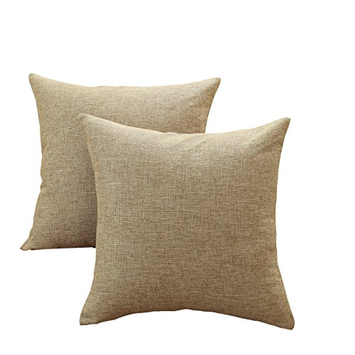 Sunday Praise Cotton-Linen Decorative Throw Pillow Covers,Classical Square Solid Color Pillow Cases,18x18 inches Cushion Covers for Sofa Couch Bed&Car,Pack of 2 (Khaki)