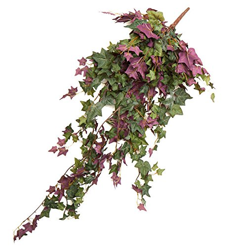 Ivy Cascading Silk Plant - Factory Direct Craft Purple and Green Poly Silk Cascading Ivy Sprays | 2 Greenery Sprays