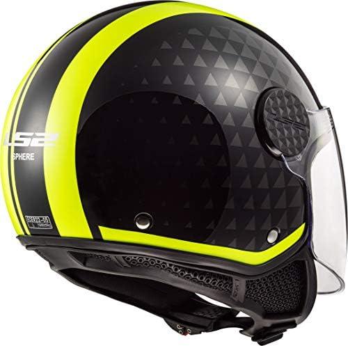XS Negro//Amarillo LS2 Casco de moto OF558 SPHERE LUX CRUSH Negro HI VIS Amarillo