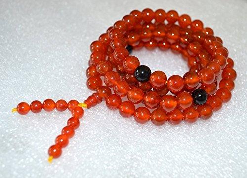 Tibetan Onyx - 8mm Carnelian Mala Beads Necklace Tibetan mala w/black Onyx spacers 108 Buddhist prayer beads Energized Yoga Jewelry Meditation mala w/free Velvet Rosary pouch - US Seller
