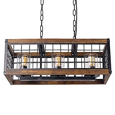 Anmytek Square Net Chandelier Basked Pendant Lights Lamp Shade Retro Vintage Industrial Rustic Ceiling Lamp Caged Light