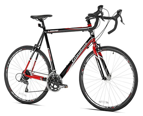 700c Mens Road Bicycle (Giordano Libero 1.6 Road Bike, Black/Red, 63cm/Large)