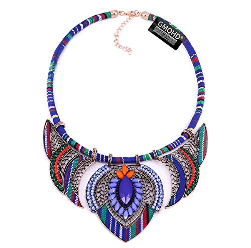 Chunky Bib Statement Torque Choker Bohemia Indian African Egypt Magnetic Clasps Multi Layers Tribal Necklaces. Fashion Jewelry Sets Collar Best Friend Gift Box for Women. (CQQ-MZ-22blue) (BQQ-MZ-177blue)