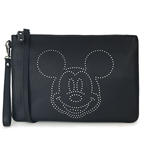 ililily Disney Mickey Mouse Punching Cross Body Mini Vintage Pouch Bag Black