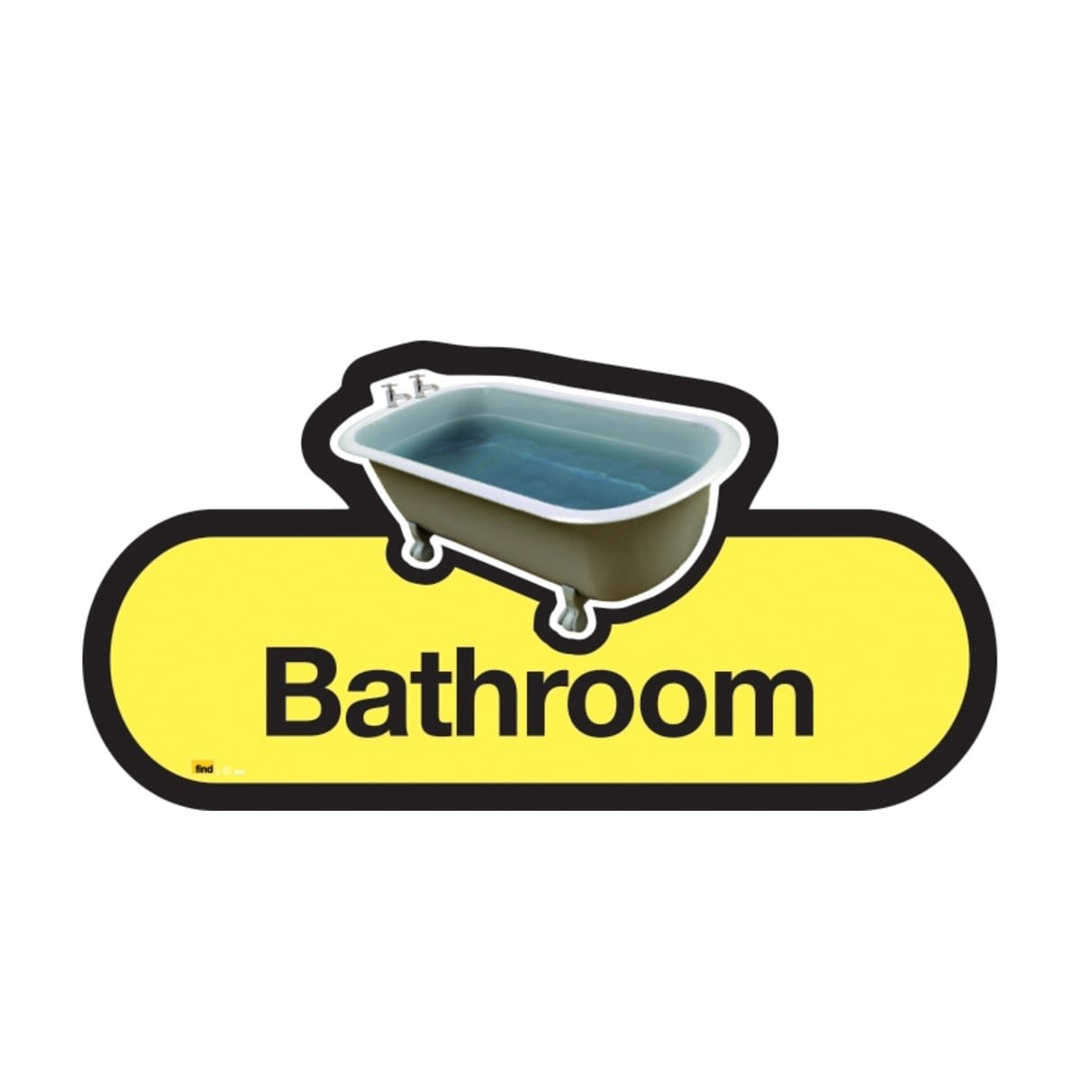 Dementia Friendly Bath Room - Yellow Sign -480mm Wide with Screw Fix by Dementia Friendly