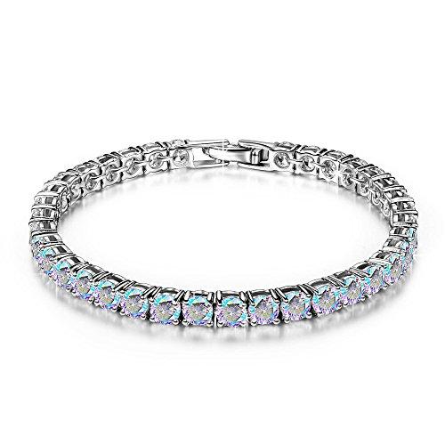 (DIANE LO'REN 18kt White Gold Aurora Borealis Mystic Cubic Zirconia Crystal Tennis Bracelet for Women)