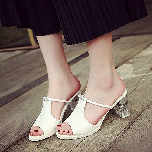 ZYUSHIZ Sandalen Hausschuhe Sommer Frau Outdoor Freizeitaktivitäten koreanische Version, 37EU, Weiß