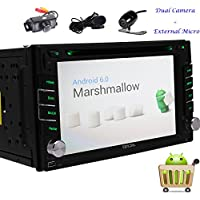 EinCar Android 6.0 Quad Core 6.2 Touch Screen Car Stereo Radio Receiver Double Din DVD Player In Dash GPS Navigation Head Unit Support Mirrorlink WiFi Bluetooth + Free Front & Backup Camera