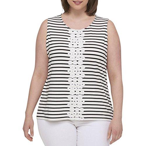 Tommy Hilfiger Womens Plus Striped Sleeveless Tank Top Black-Ivory ()