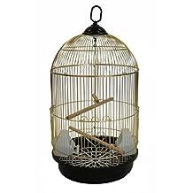 YML A1564 Bar Spacing Round Bird Cage, Small, Brass