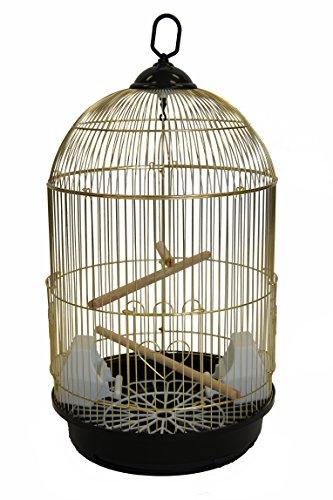 (YML A1564 Bar Spacing Round Bird Cage, Brass, Small)