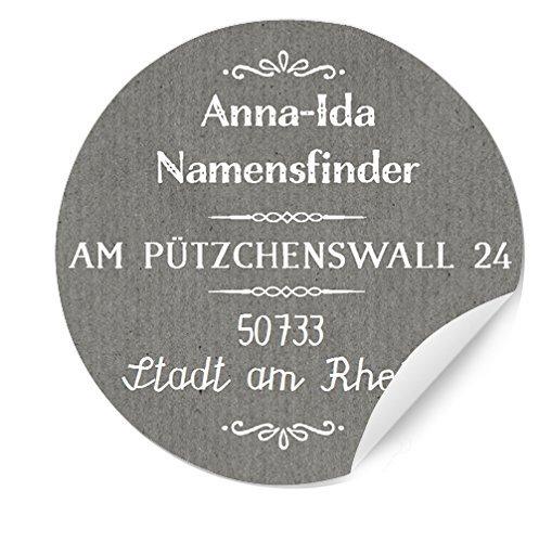 MATTE Papieraufkleber rund 3x24 Bedruckte runde Adressaufkleber Etiketten mit Namen und Adresse personalisiert Chic Grau Namenssticker 4cm Durchmesser, Hochzeitsaufkleber selbstklebend