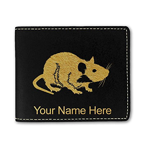 Faux Leather Wallet - Rat - Personalized Engraving Included (Rat Wallet)