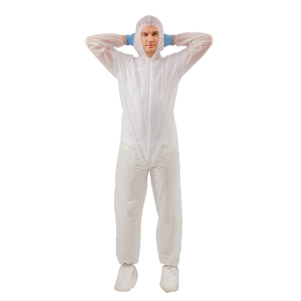 5 Pack Polypropylene PP Disposable Hooded Coveralls Light Duty Suit with Elastic Cuff Ankle and Waist (Large, White)