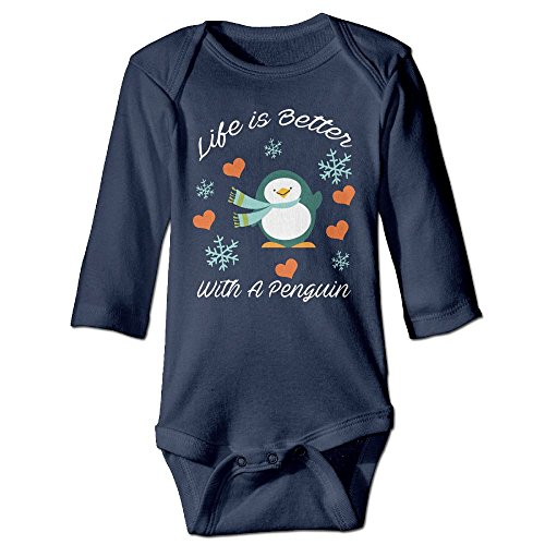 Arromper Life Is Better With A Penguin Newborn Babys Long Sleeve Baby Climbing Clothes Navy 6 M