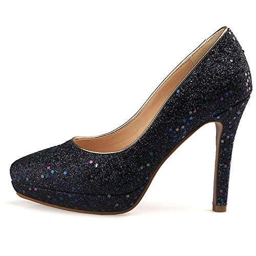 Odomolor Women's Pointed-Toe High-Heels Blend Materials Solid Pumps-Shoes, Darkblue, 36
