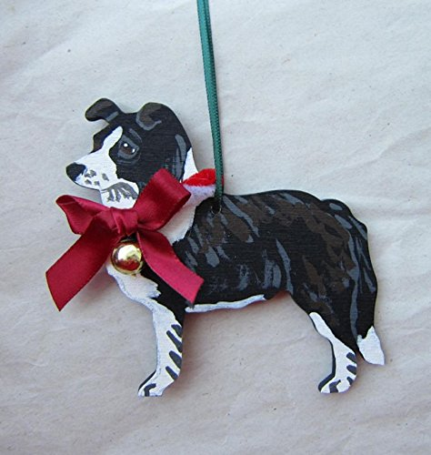 Hand-Painted BORDER COLLIE w/Bow Wood Christmas Ornament Artist Original