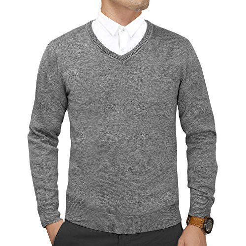 Finrosy Men's Sweater V-Neck Woolen Long Sleeve Slim Fit Pullovers(Gray,S)