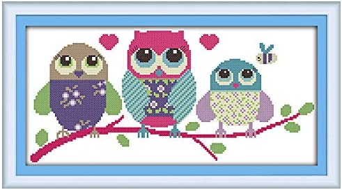 Cartoon owl Full Range of Embroidery Starter Kits Stamped Cross Stitch Kits Beginners for DIY Embroidery with 40 Pattern Designs