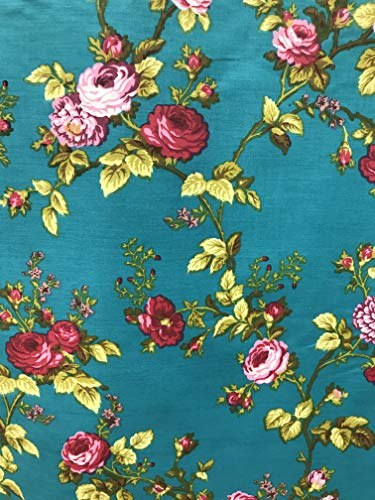 Daffodils Floral Carnation Poly Cotton Print Fabric by The Yard (Jade/red)